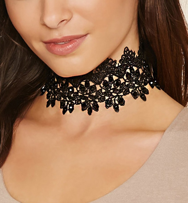 Hot Boho Long black choker Lace Necklace Hollow Flower Leaves necklace Girls Punk Jewellery fashion necklaces for women Mom Gift(China (Mainland))