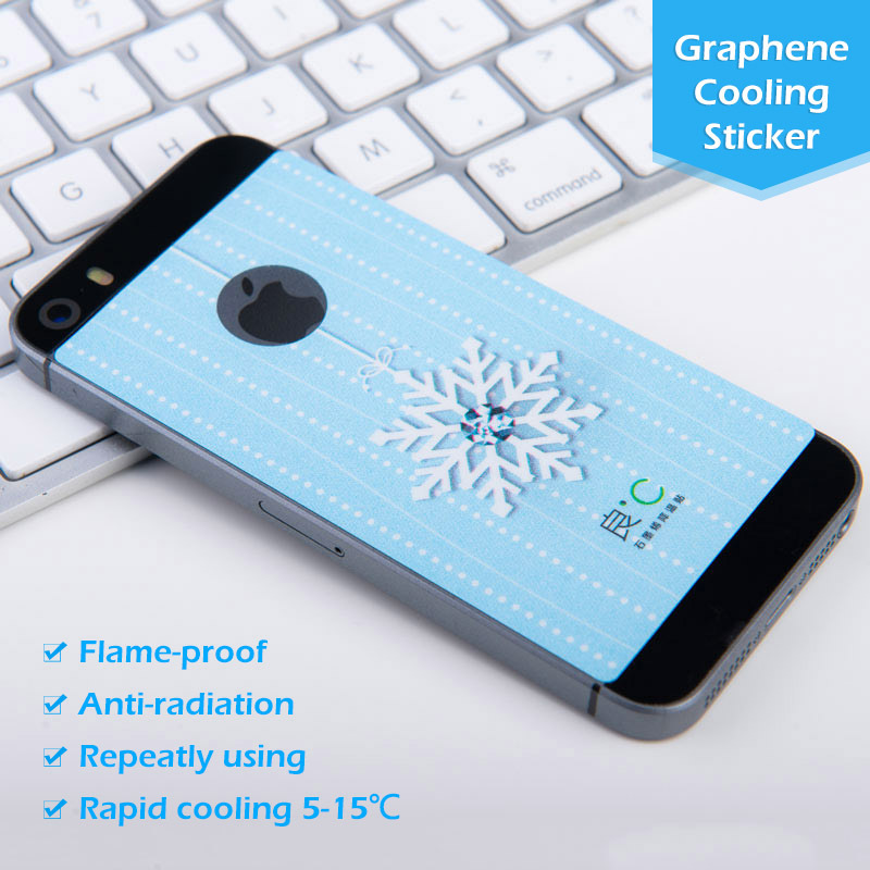 Powderblue&Earthy Yellow Snow Flower Diamond Graphene Cooling Phone Sticker for iPhone5/5S Protect Pregnant woman from Radiation(China (Mainland))