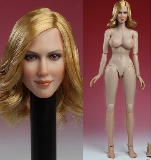 1/6 scale figure doll head or female body with head for 12
