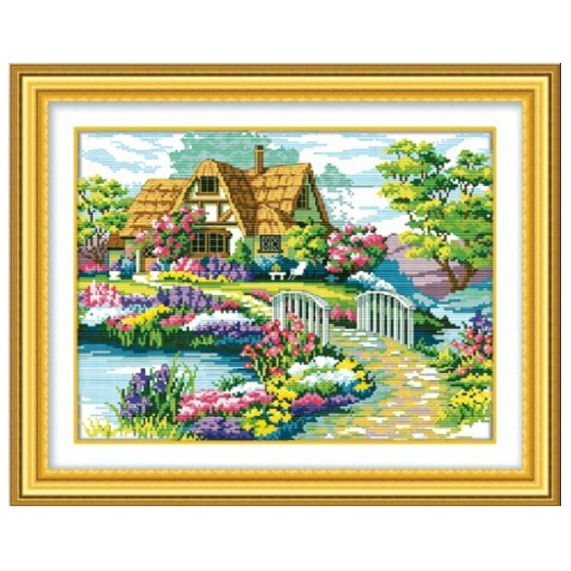 Гаджет  Needlework,DIY DMC Cross stitch,Sets For Embroidery kits,scenery clock home decro  Counted Cross-Stitching,factory direct sale None Дом и Сад