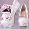 White Wedding Bridal Dress Shoes Super High heel 14cm Fashion Lady Shoes Match anniversary party Woman