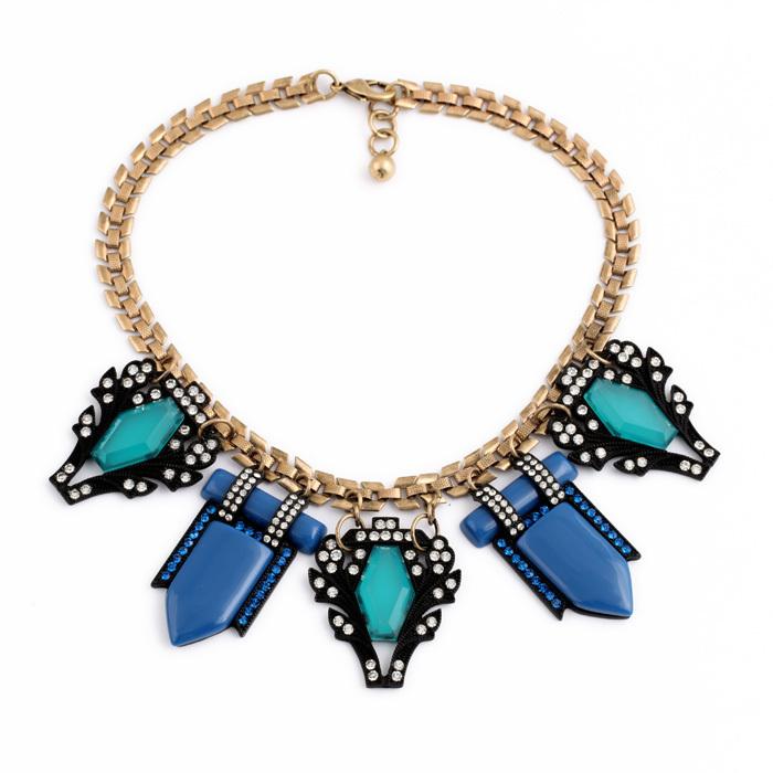 Boho Vintage Jewelry Chic Green Blue Created Gemstone Pendants Choker Statement Necklace(China (Mainland))