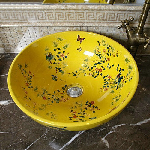 Handmade Porcelain Sink Birds&Flowers Countertop Ceramic Bathroom - The Fourth Dimension Of Life store