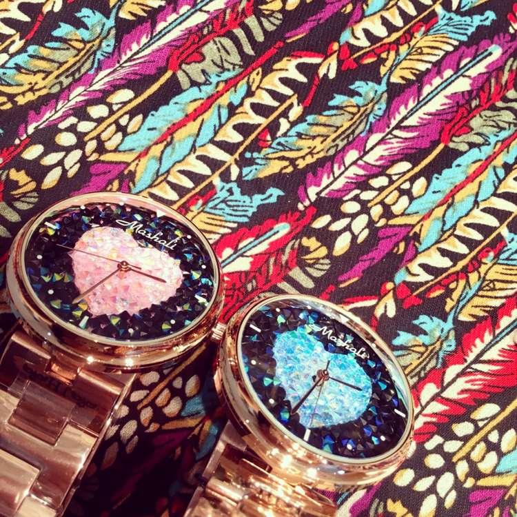 Роскошные Нержавеющей Стали Дамы Наручные Часы Женщины Женское Платье Кварцевые Часы Розовое Золото Rhinostone Игристые Сияющий Часы OP001