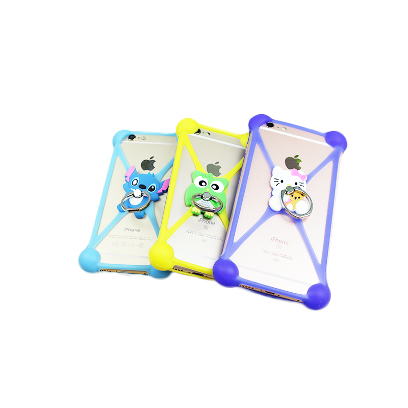 Cartoon Ring Stand Soft Silicone Case For Nomi i506 Cell Phone Universal 3.5 - 5.5 Inch Bumper Frame(China (Mainland))