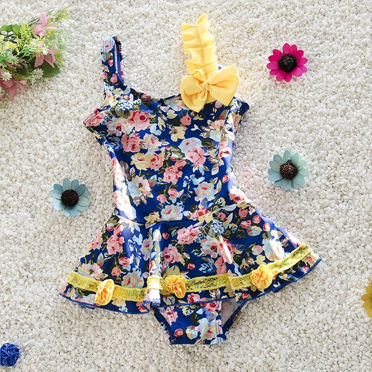 Swimsuit Girls 2-10 years old 2016 New children cute cartoon swimsuit swimwear one piece swimsuit girls baby swimwear(China (Mainland))