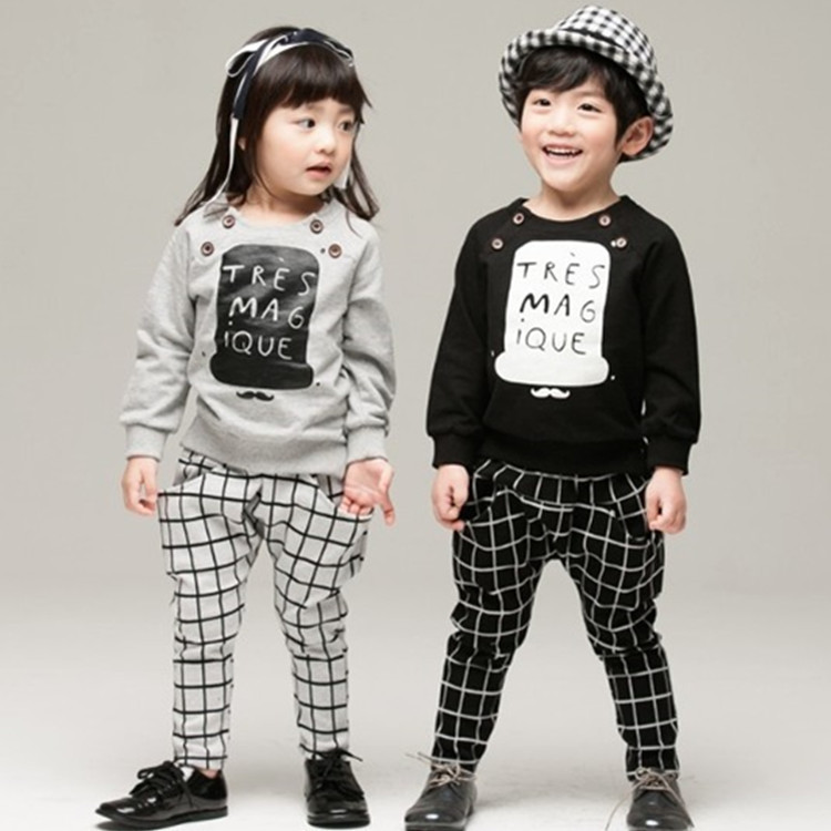 Children Boys Girls Clothing Set 2015 New Autumn Letter Plaid Casual Long Sleeve T shirt+Pant Trousers Kids Clothes Suit(China (Mainland))