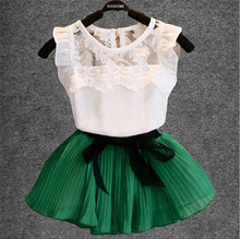 Children's suit, girls fashion bud silk joining together fly sleeve hollow gauze T-shirt+chiffon skirt suit, girls skirt suits(China (Mainland))