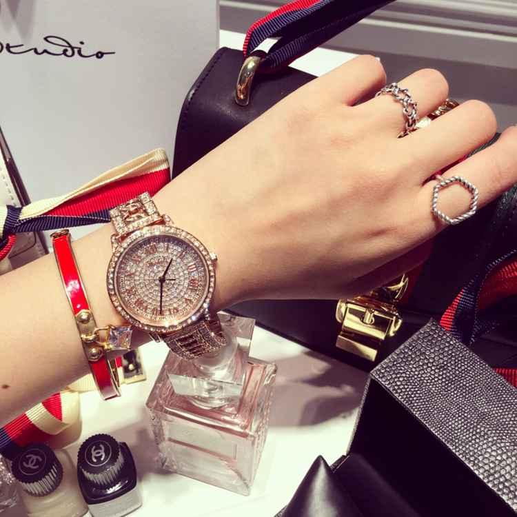 Новый Эксклюзивная Модная Дамы Женщины Наручные Часы Рим Namerals Rhinostone Сияющий Кварцевые Часы Montre Роковой Relógio Feminino OP001
