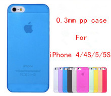 1pcs 2015 new arrival 0.3mm ultrathin PP soft matt phone case for iphone 4 4S 5 5S back cover case free shipping(China (Mainland))
