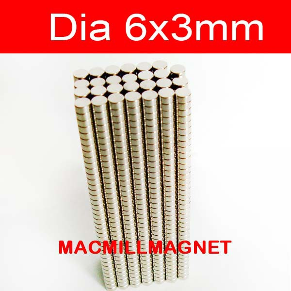 Whole Sales Brand New Disc Rare-earth Neodymium Strong Permanent Magnet 100pcs/pack Dia6x3mm, Free Shipping(China (Mainland))