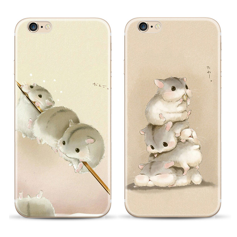 New Cute Cartoon Hamster Soft Silicone Case Coque For Apple Iphone 6 6s Case Phone Cover(China (Mainland))