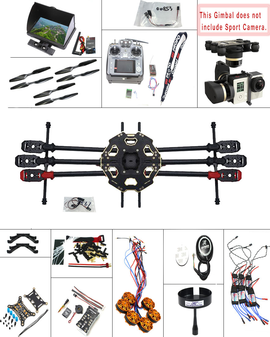 JMT DIY 2.4G 10CH PX4 GPS 5.8G FPV 680PRO RC Hexacopter Unassembled Full Kit ARF No Battery RC Drone MINI3D Pro Gimbal F07807-H