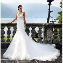 Buy Mermaid Wedding Dress 2017 Plus Size Lace Appliques Covered Button Chapel Train Custom Made Bridal Gown Robe De Mariage for $158.40 in AliExpress store