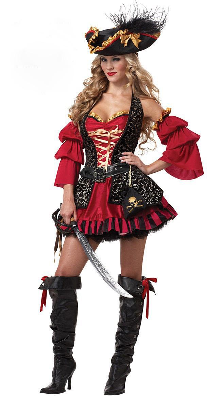 Europe femmina adulta crudele mari capitano buccaneer pirate costume cosplay halloween fancy dress role playing - Love Before The Century store