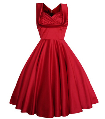 Retro vintage rockabilly 50s dress 2015 new fashion sleeveless swing party plus size dresses red knee length(China (Mainland))