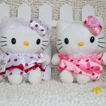 18cm Stuffed, Plush toys, Hello kitty doll Pink dress KT with Christmas Sock pink veil dress doll wholesale+free shipping fs-044