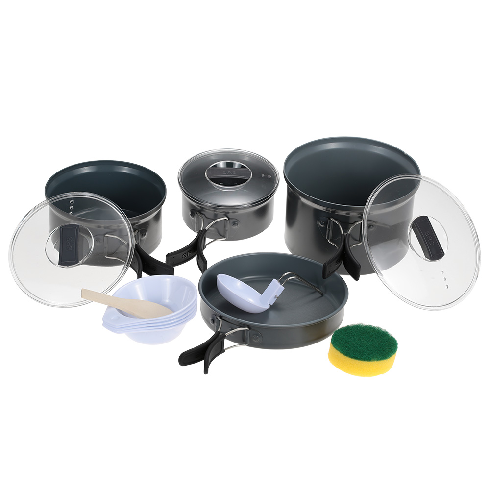BRS Protable Cookware Set Camping Pot Outdoor Cooking Utensil Pot Sets Cookware Picnic Tableware Bowl Traveling Food Cooker(China (Mainland))