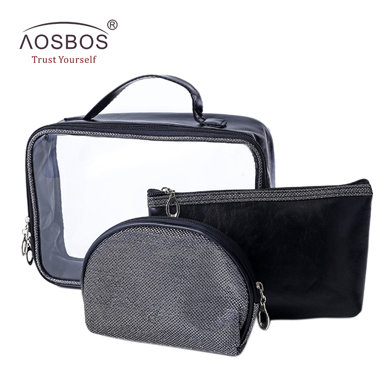 Aosbos Women 3Pcs/set PU Transparent Wash Cosmetic Bag Waterproof Portable Travel Organizer Storage Pouch Wholesale Makeup Bags(China (Mainland))