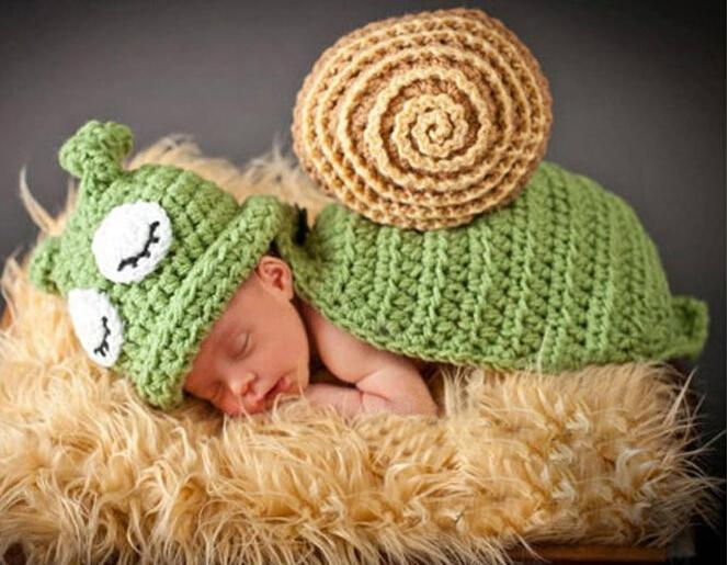 Sleepy Snail Infant Baby Photo Props Boy&Girl Crochet Hats Beanie Handmade Baby Costume 1set Free Shipping MZS-14053(China (Mainland))
