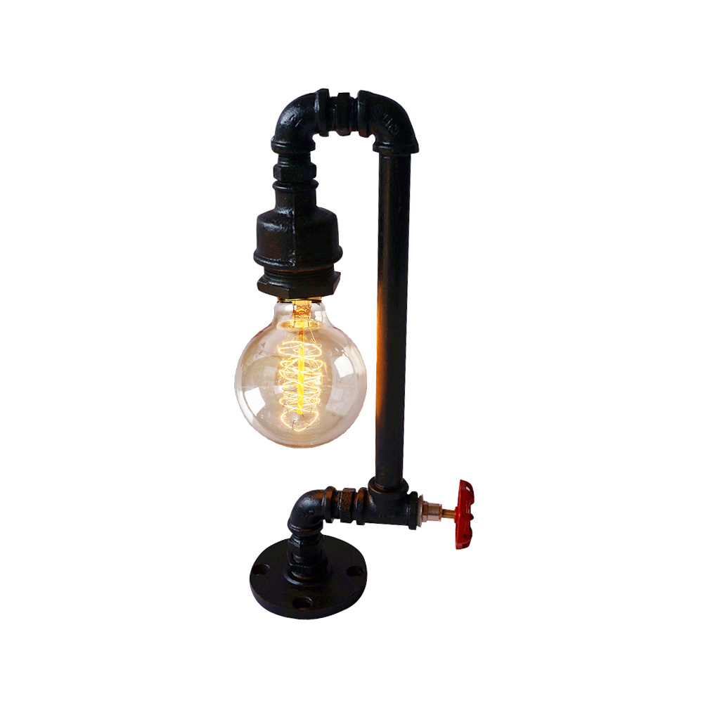unique design black iron pipe plumbing led table lamp desk lighting. Black Bedroom Furniture Sets. Home Design Ideas