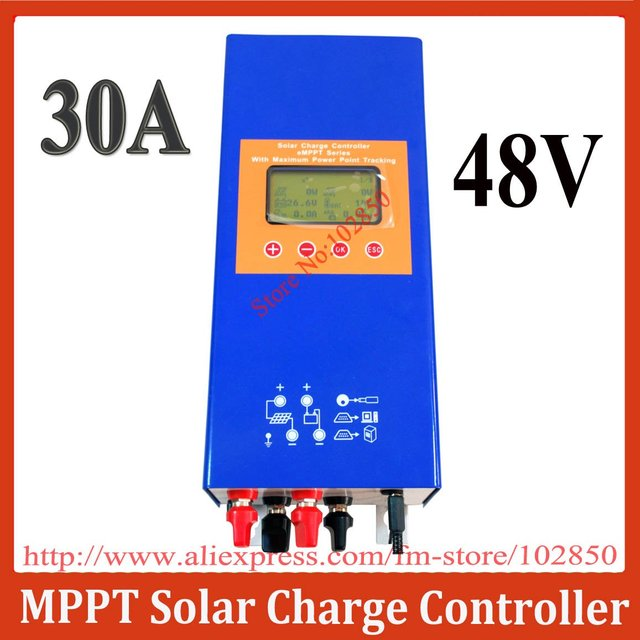 30A,48V Large LCD Screen eMPPT solar system charge controller,MCU technology,optional remote control