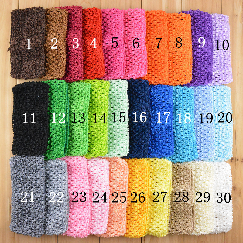 Crochet Hair Wholesale : Wholesale 30Colors 2.75 Elastic crochet headband Newborn Infant ...