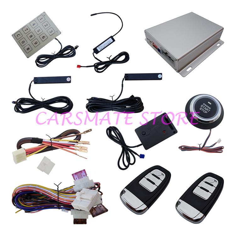 Multiple-Function Passive PKE Car Alarm System, Smart Key, Keyless Entry, Push Button Start, Remote Start, With Vibration Sensor(China (Mainland))