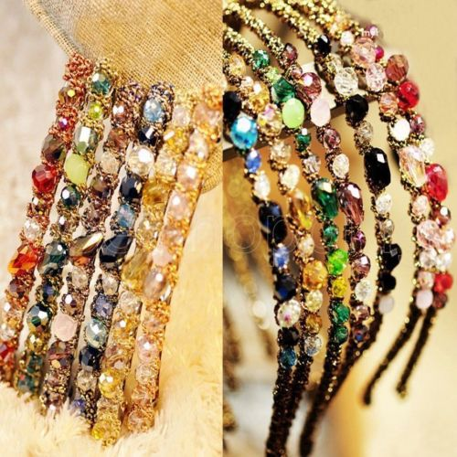 Crystal Hair Bands Alice Band Headband Sparkling Glass Beads Vintage Style New(China (Mainland))