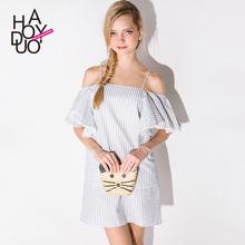 2016 nuevo estilo del verano Sexy vestido a rayas vestido de cuello Slash hombro vestidos más el tamaño de Boho vestido corto de la playa Elbise bata(China (Mainland))