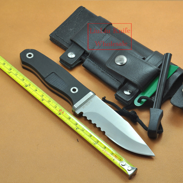 G10 Handle Survival Knife Fixed Blade Knives Hunting Camping Knife Half Serrated and Leather sheath With Free Ferramentas(China (Mainland))