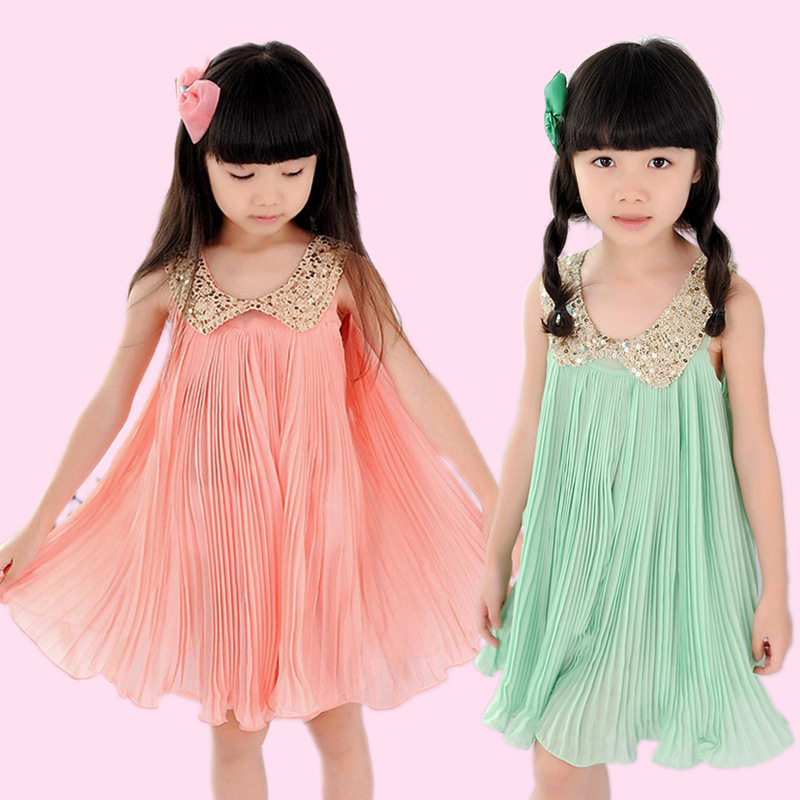 2013 Summer Girls Sequined collar dress,Noble light Green Girls dress Pleated Chiffon Children Fairy Sundress,Kids clothes 5pcs
