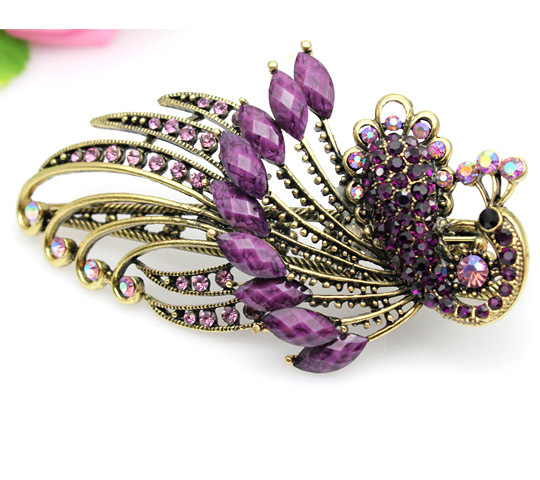 New Design TOP Quality Classic Lovely Vintage Jewelry Crystal Purple Peacock Hairpins Hair Clips Free Shipping(China (Mainland))