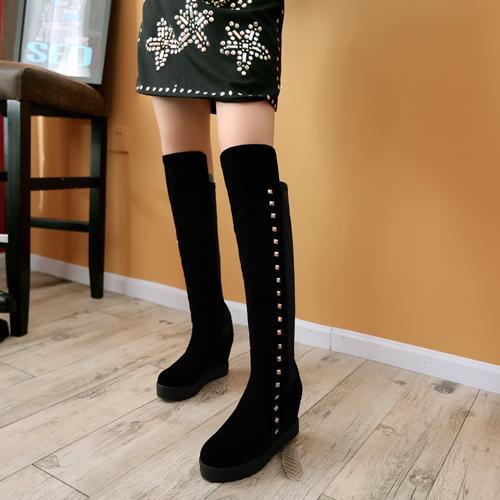 Punk sexy rivets women high platforms shoes fashion black autumn shoes ladies wedges high heels woman autumn shoes<br><br>Aliexpress