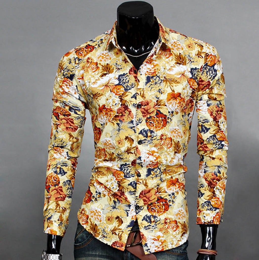 2016 men korean long sleeve casual shirts slim fit floral for Floral mens t shirts