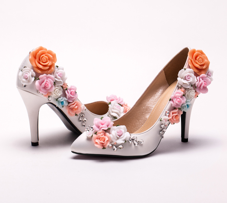 Custom Made Elegant Bridal Wedding Shoes White Satin Flower High Heel Lady shoes New Arrived Pointed Toe Women Bridesmaid Shoes<br><br>Aliexpress