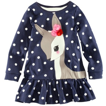 Children Girls T-Shirts Long Sleeve Lace One-piece Deer Cotton T-Shirts Clothing 1-6Y
