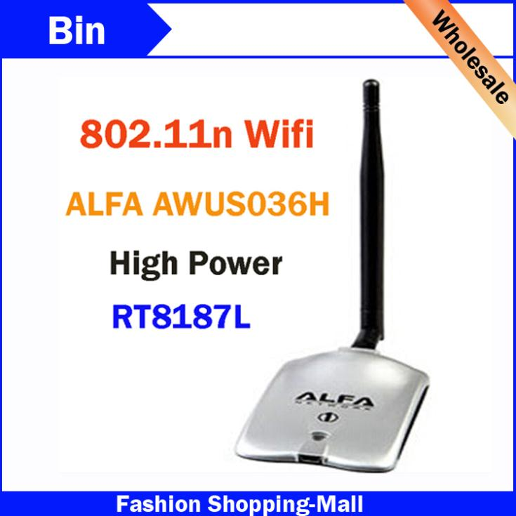 Wholesale 2015 New High Tech ALFA AWUS036H 1000MW WIFI Wireless USB Network Adapter 5DB Antenna With Realtek8187L