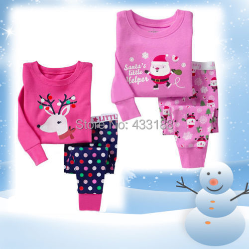 2014 New 2 Colors Girls Christmas Sleepsuit Sleepwear Pajamas Set 1-7Y Santa Reindeer(China (Mainland))
