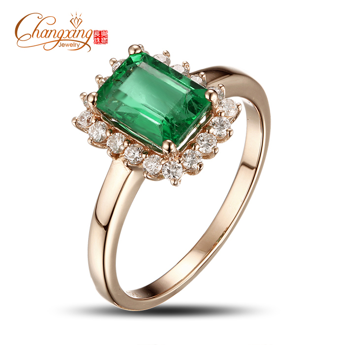 solid 14k gold emerald ring