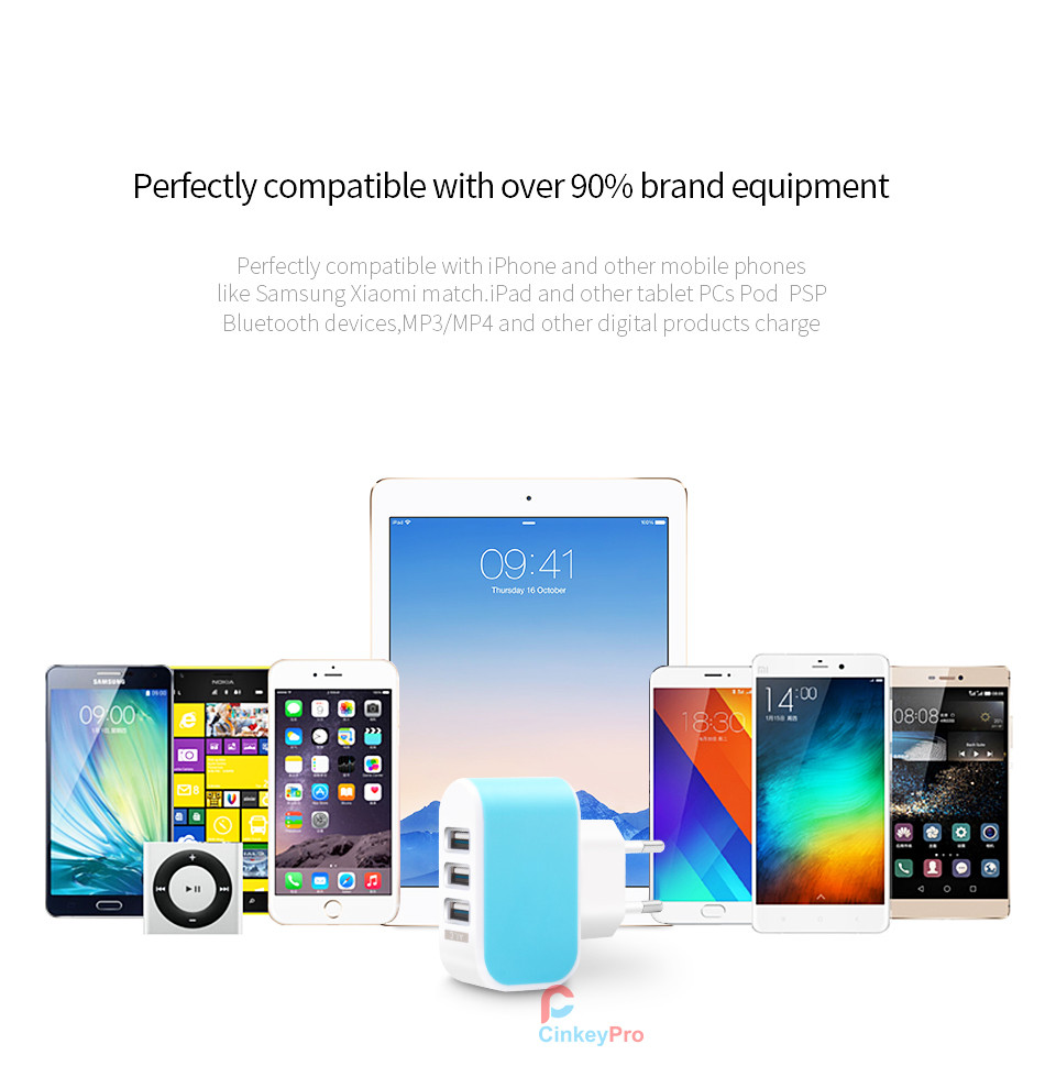 Fast Charging 5V 3A USB Wall Charger EU Plug Adapter Mobile Smart Phone Device for Huawei 3 4 5 C meizu pro 4 5 6 LG CinkeyPro