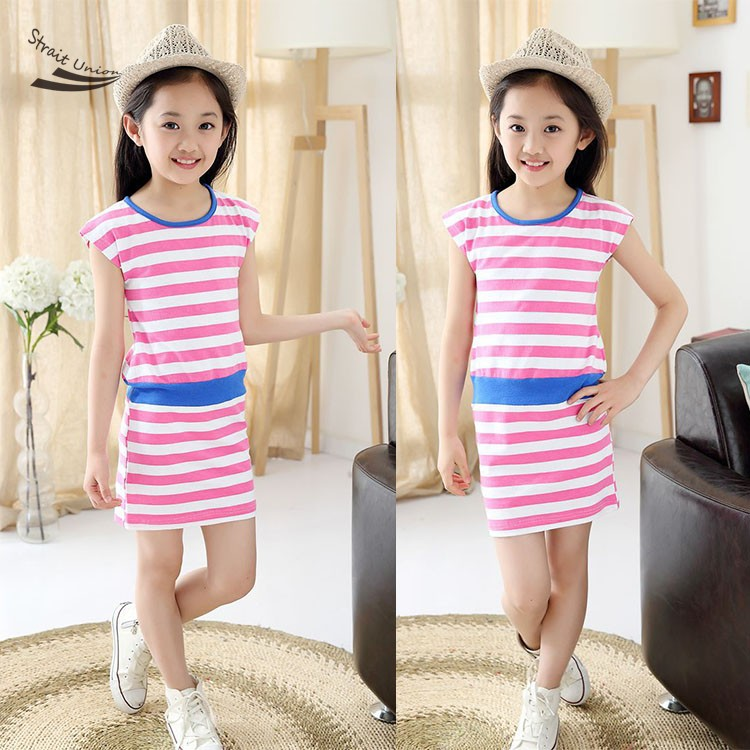New Cute Kids Girls Fashion Korean Style O-Neck Striped Casual Mini Dress baby gril Slim dress 61(China (Mainland))