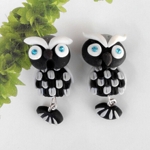 Handmade Polymer Clay Stud Earring For Women Vintage Cartoon Owl Animal Earrings Fine Jewelry Summer Style 2015 New Fashion 4098(China (Mainland))