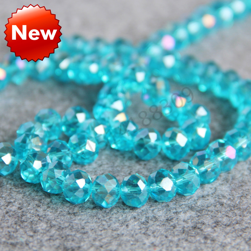 For Necklace&Bracelet 8x10mm Faceted Sky Blue AB+ colorful glass Crystal Jasper beads loose DIY Jewelry making design wholesale(China (Mainland))