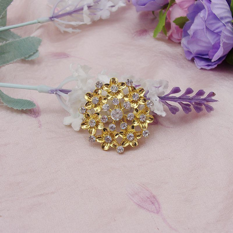fashion golden rhinestone flower brooches free shipping by dhl, flat back embellishment! 100pcs/pack, item No.: BH7208<br><br>Aliexpress