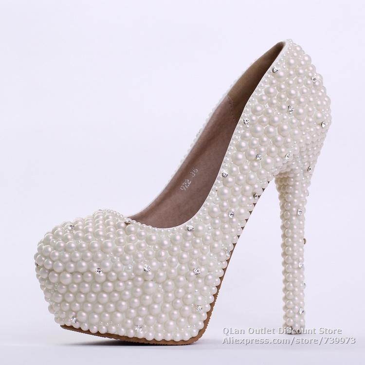 Aliexpress Buy Pearl Wedding Shoes With Rhinestone Bride High Heel Bridesmaid Heel Evening