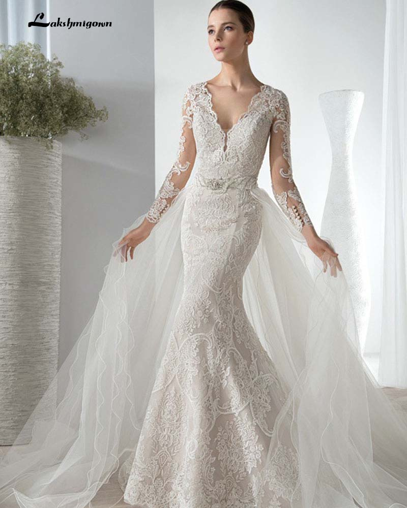 Custom made sexy v neck elegant detachable train wedding for Detachable train wedding dress