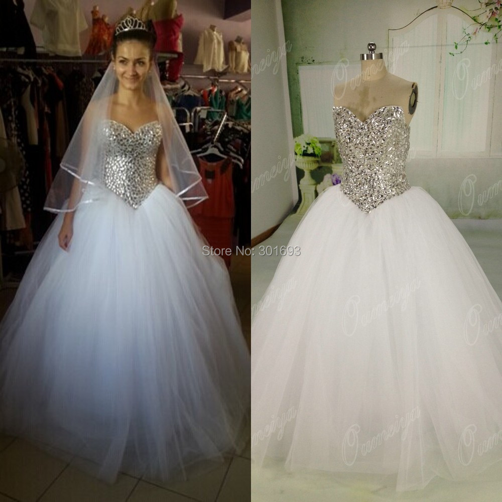 Oumeiya ORW444 Real Sample Pictures Sweetheart Diamond Crystal Beaded Ball Gown Princess Wedding