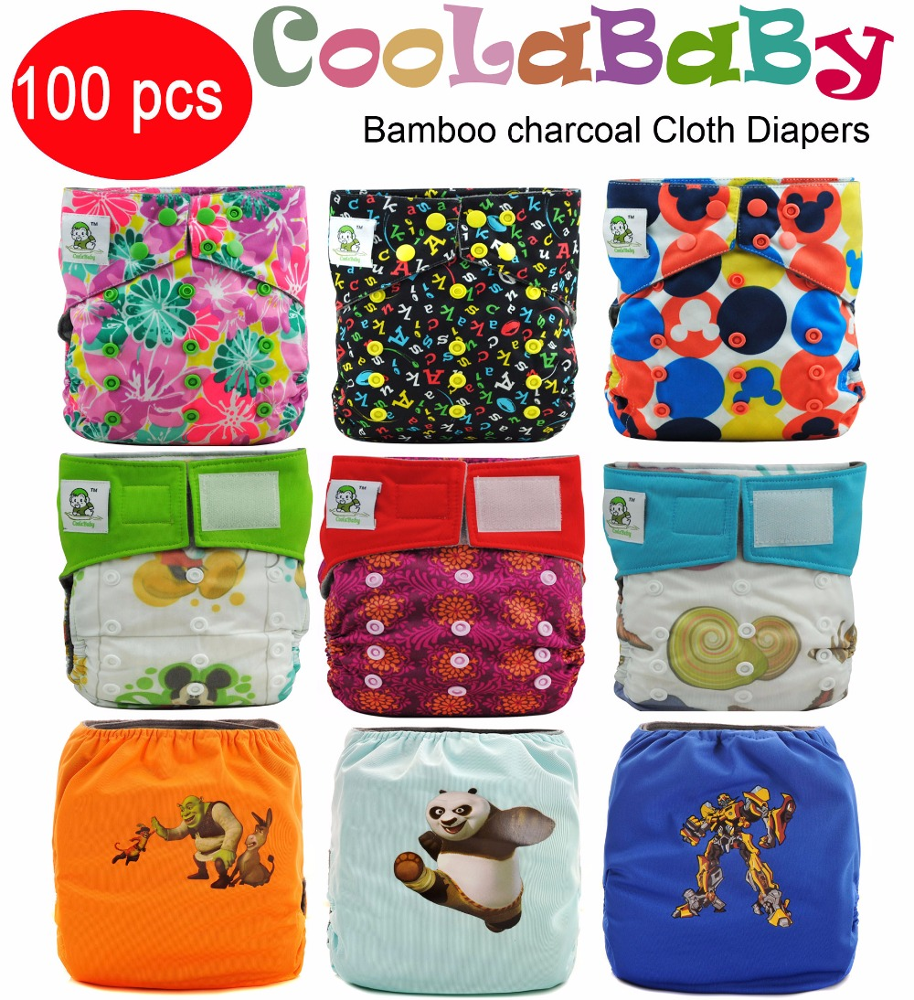 Free shipping ! 100 Coolababy one size Reusable bamboo charcoal Cloth diapers Washable Nappies without inserts(China (Mainland))