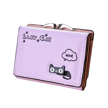 Sweet Cat Kitty Animals Cute Small Ladies Wallet Purse Trendy Design Brand High Quality Synthetic PU Leather Gift For Halloween(China (Mainland))